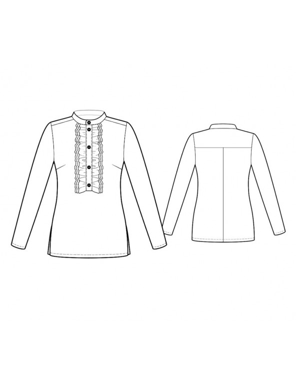 Fashion Designer Sewing Patterns - Ruffle-front Tuxedo Top