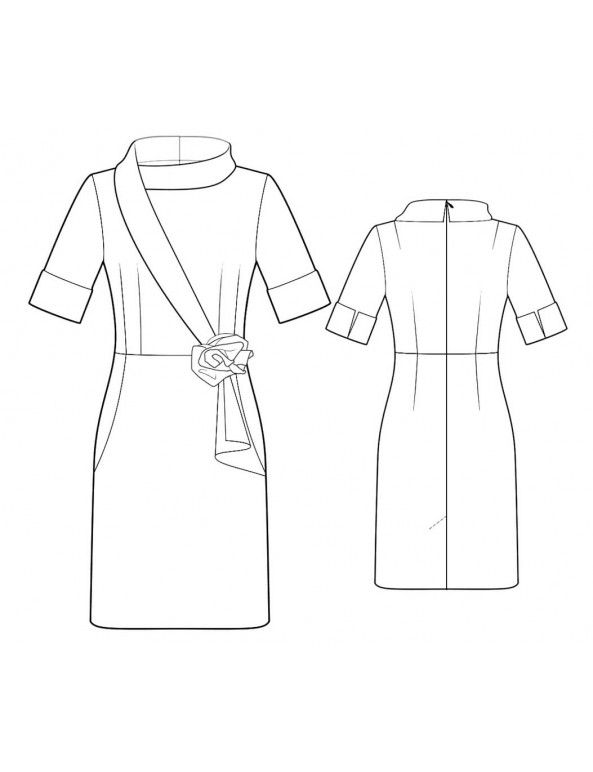 Fashion Designer Sewing Patterns -  Collar with Asymmetrical Shawl  Detail