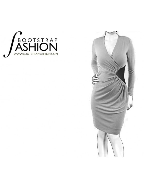 Fashion Designer Sewing Patterns - Draped Faux-Wrap Jersey Dress