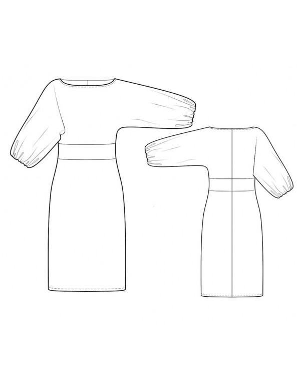 Fashion Designer Sewing Patterns - Boatneck Kimono Baloon Sleeves Dress