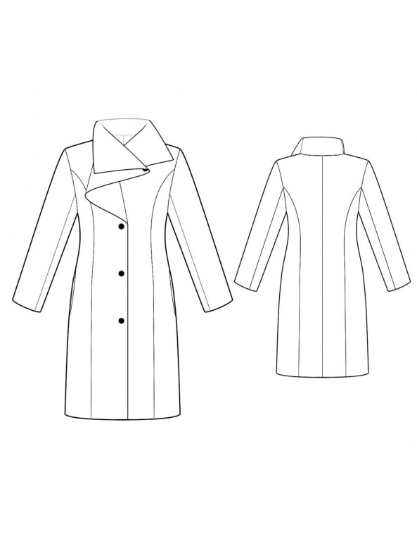 Fashion Designer Sewing Patterns - Tailored Coat With Couture Draped Collar