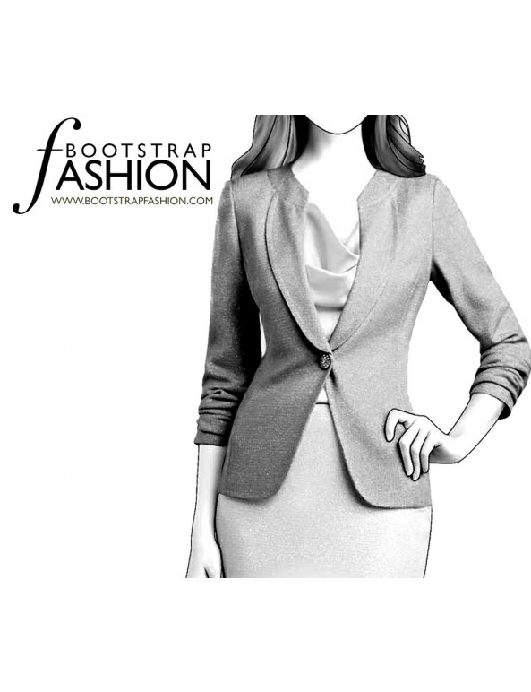 Fashion Designer Sewing Patterns - Round-Neck Fitted Jacket