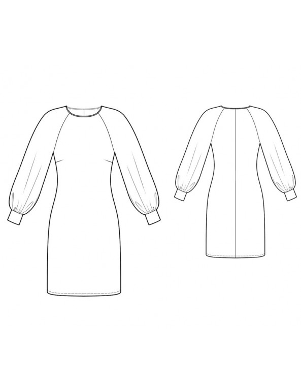 Fashion Designer Sewing Patterns - Chiffon Raglan Sleeves Knit Dress