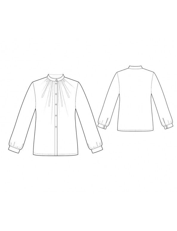 Fashion Designer Sewing Patterns - Button-Down Blouse with Victorian Collar