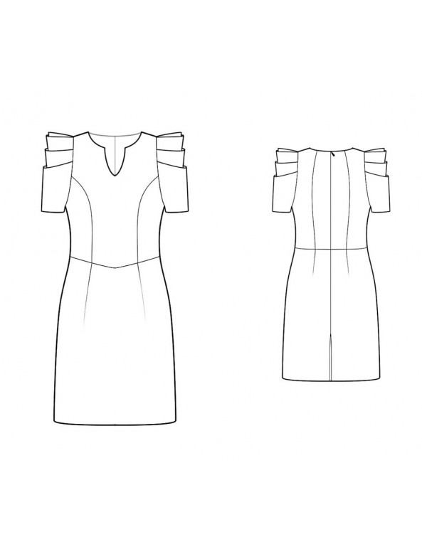 Fashion Designer Sewing Patterns - Couture Pleated Sleeves Dress