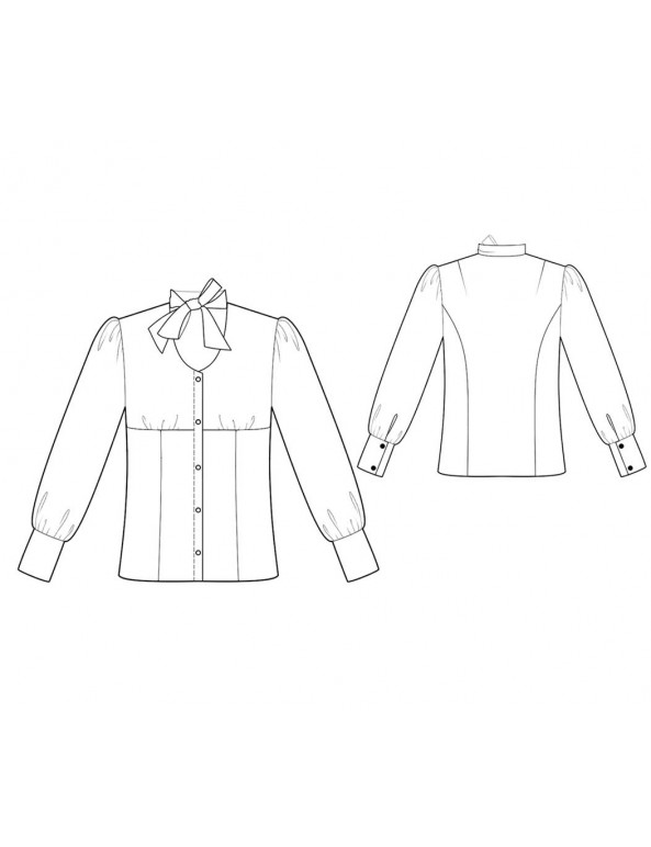 Fashion Designer Sewing Patterns - Long-Sleeved Button-Down Blouse with Tie
