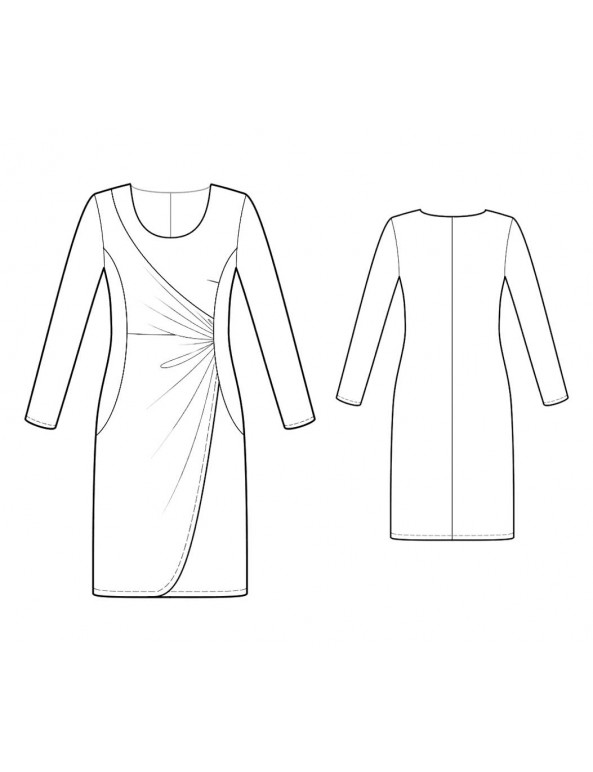 Fashion Designer Sewing Patterns - Knit Scoop Neck Asymmetrically Draped Dress