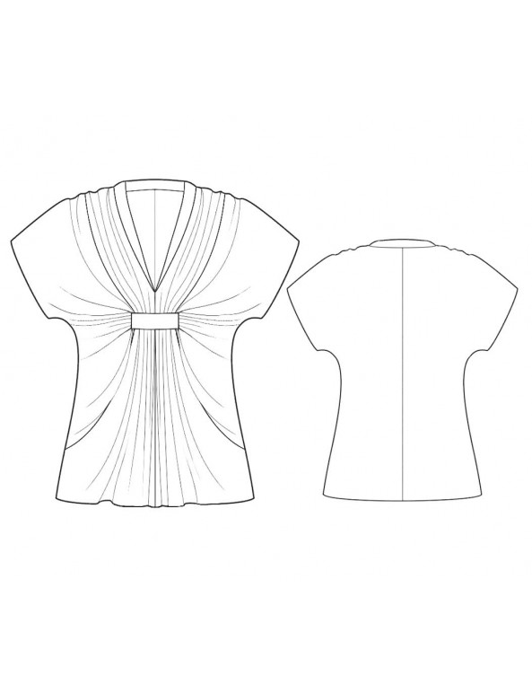 Fashion Designer Sewing Patterns - Drop Sleeve Draped-Neck Blouse