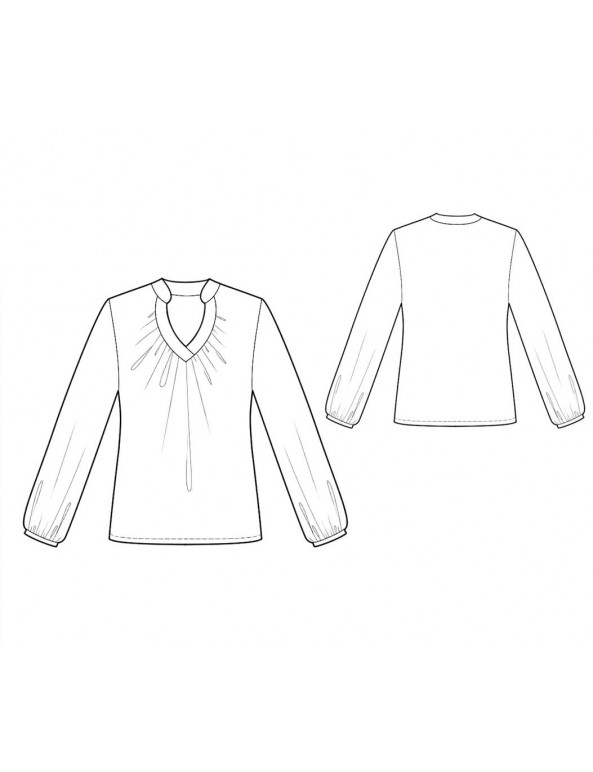 Fashion Designer Sewing Patterns - Long-Sleeved Blouse with Keyhole Neckline