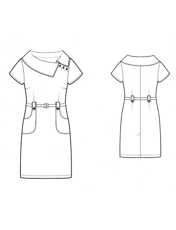 Fashion Designer Sewing Patterns - Side Split Portrait Collar Dress