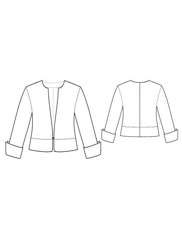 Fashion Designer Sewing Patterns - No-Collar V-Neck Short Jacket