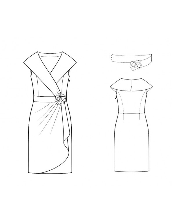 Fashion Designer Sewing Patterns - Wide Neck Shawl Collar Draped Skirt Dress
