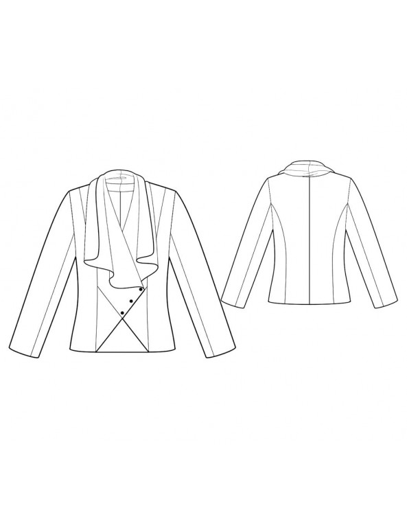 Fashion Designer Sewing Patterns - Cascading Drape Front Jacket