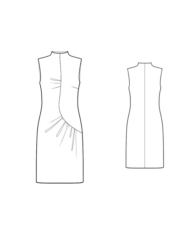 Fashion Designer Sewing Patterns - Funnel Neck Asymmetrical Drape Dress