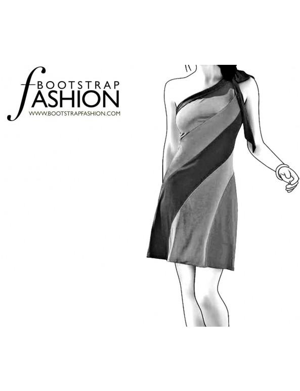 Fashion Designer Sewing Patterns - One Shoulder Color/Print Blocked Dress
