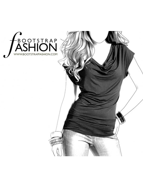 Fashion Designer Sewing Patterns - Cap-Sleeved V-Neck Blouse