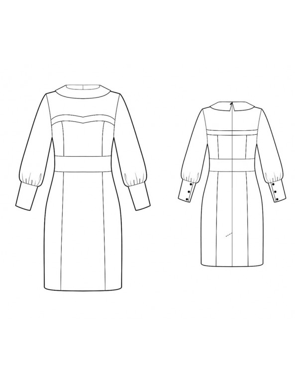 Fashion Designer Sewing Patterns - Bertha Style Collar With Sheer Sleeves Dress