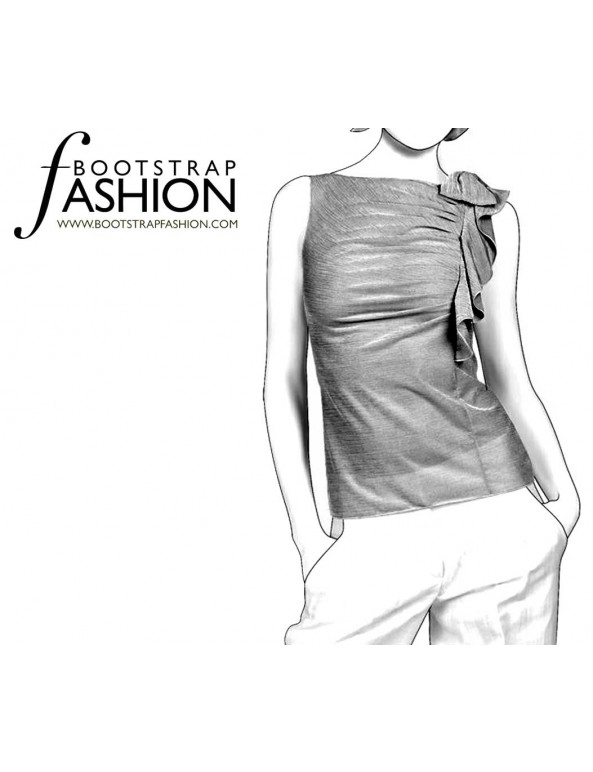 Fashion Designer Sewing Patterns - Side Ruffle Draped Knit Top