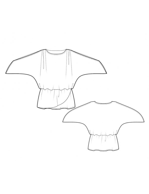Fashion Designer Sewing Patterns - Drop-Waist Top with Raglan Sleeves