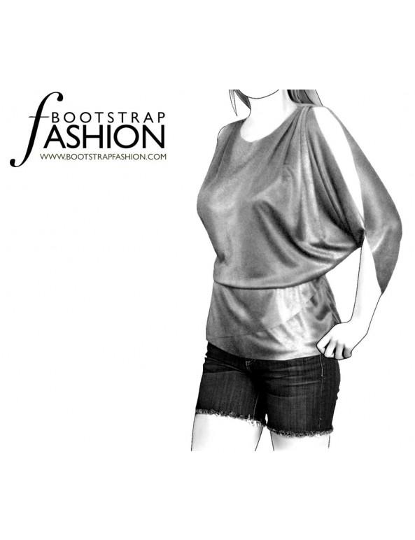 Fashion Designer Sewing Patterns - Drop-Waist Top with Raglan Sleeves