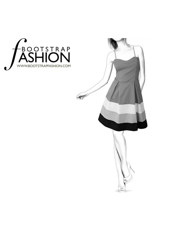 Fashion Designer Sewing Patterns - Color/Print Blocked Sundress