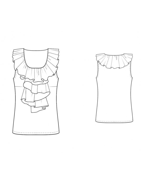 Fashion Designer Sewing Patterns - Sleeveless Ruffle Blouse