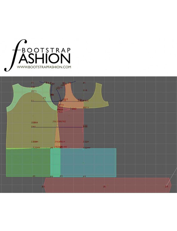 Fashion Designer Sewing Patterns - Scoop Neck Color/Print Block Shift Dress
