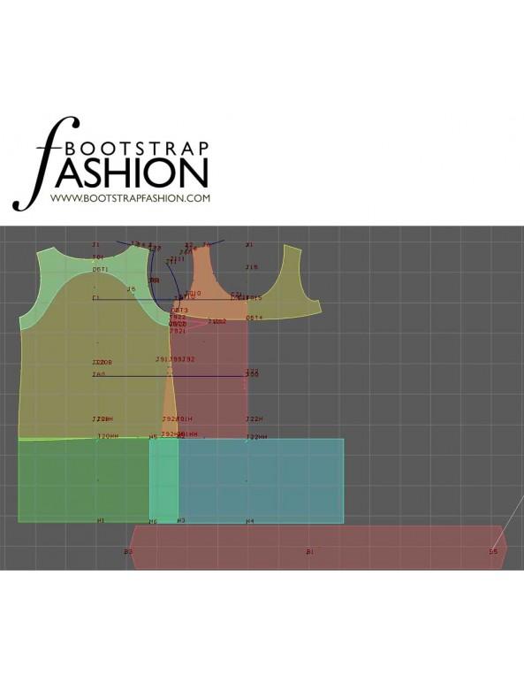 Fashion Designer Sewing Patterns - Scoop Neck Color/Print Block Shift Dress