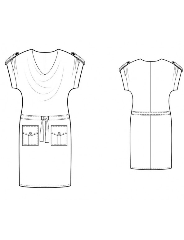 Fashion Designer Sewing Patterns - Cowl Neck Dress With Pockets
