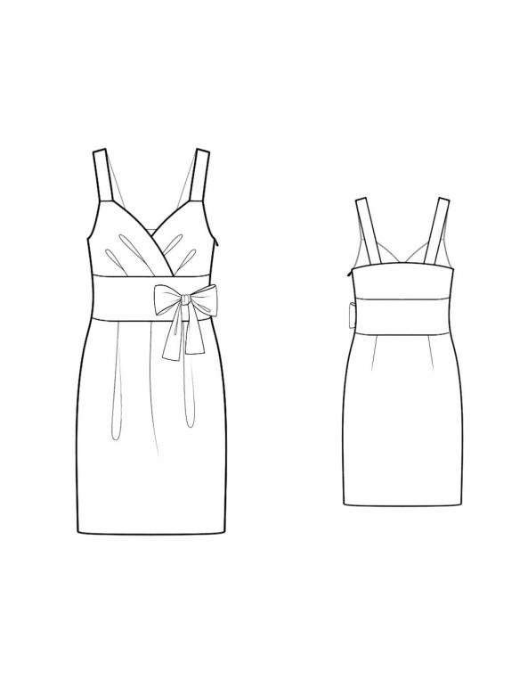 Fashion Designer Sewing Patterns - Surplice Draped Bodice Dress With Wide Set-in Waistband