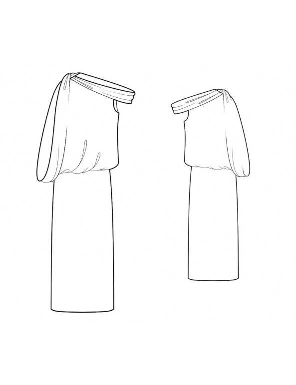 Fashion Designer Sewing Patterns - Asymmetrical Neckline Dropped Shoulder Dress