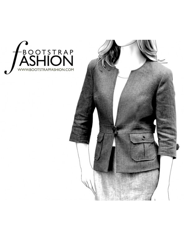 Fashion Designer Sewing Patterns - Collarless Belted Casual Jacket