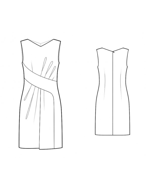 Fashion Designer Sewing Patterns - Asymmetrical Drape V-neck Dress