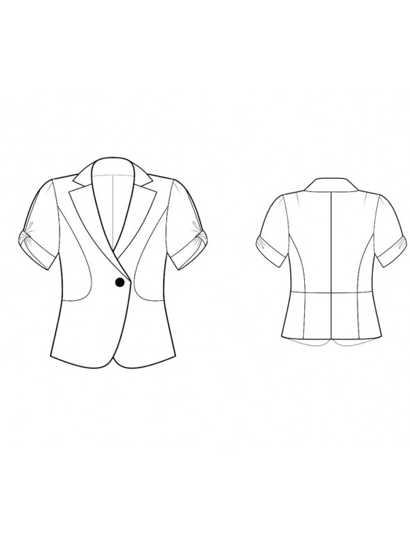 Fashion Designer Sewing Patterns - Short-Sleeved One-Button Fitted Jacket