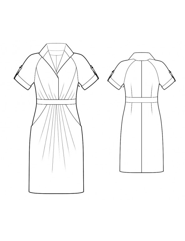 Fashion Designer Sewing Patterns - Raglan Sleeves Draped Shirt Dress