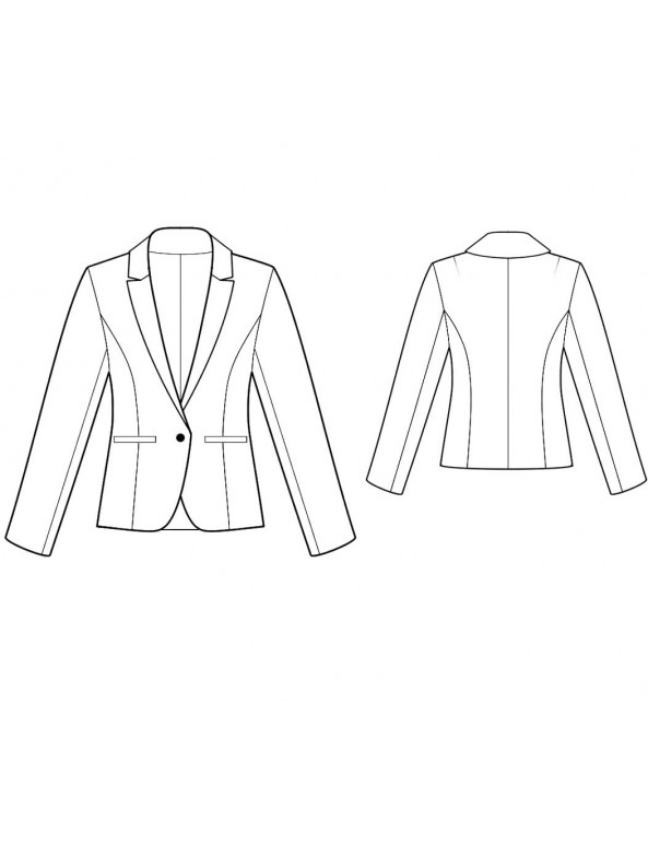 Fashion Designer Sewing Patterns - Tailored, Fully Lined Cropped Sleeves Jacket