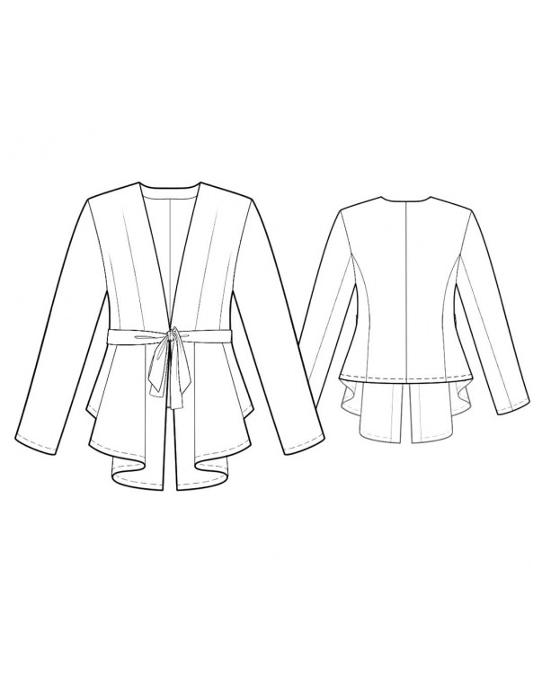 Fashion Designer Sewing Patterns - Tie Front Cascading Cardigan