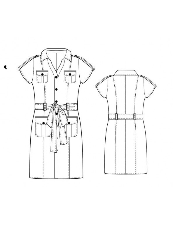 Fashion Designer Sewing Patterns - Button Front Shirt Dress With Ties