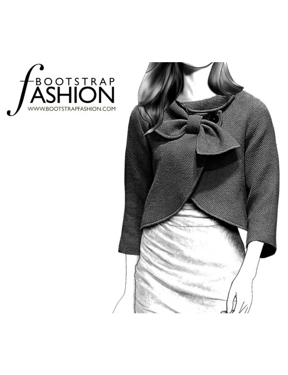Fashion Designer Sewing Patterns - Draped Collar Cropped Coat