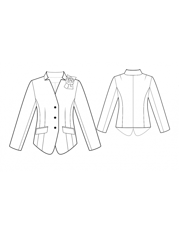 Fashion Designer Sewing Patterns - Fitted Inverted Lapel Jacket
