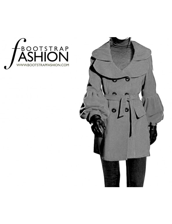 Fashion Designer Sewing Patterns - Pea-Style Coat with Puffy Sleeves