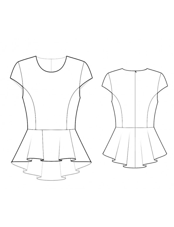 Fashion Designer Sewing Patterns - Cap Sleeved Peplum Top
