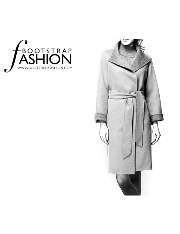 Fashion Designer Sewing Patterns - Belted Long-Sleeve Coat