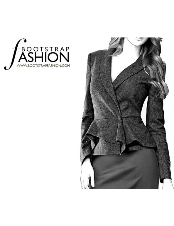 Fashion Designer Sewing Patterns - Long-Sleeved Shawl Collar Jacket