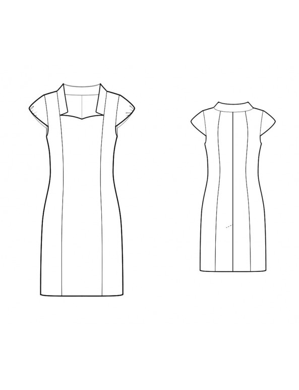Fashion Designer Sewing Patterns - Sweetheart Neck With Collar Dress