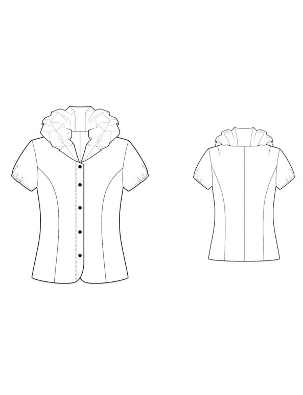 Fashion Designer Sewing Patterns - Button-Down Shirt with Ruffled Collar