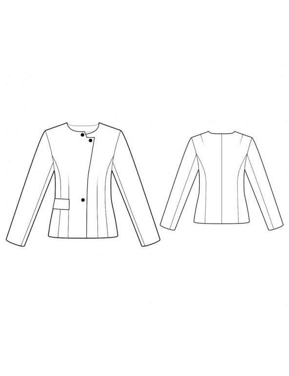 Fashion Designer Sewing Patterns - Long-Sleeved Collar-Less Jacket
