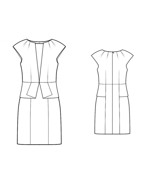 Fashion Designer Sewing Patterns - Origami Peplum Sheath With Draped Neckline