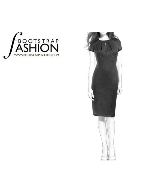 Fashion Designer Sewing Patterns - Draped Sleeves Keyhole Princess Seams Dress