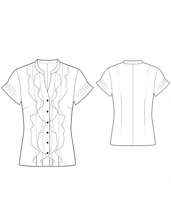 Fashion Designer Sewing Patterns - Capped-Sleeved Ruffle Shirt